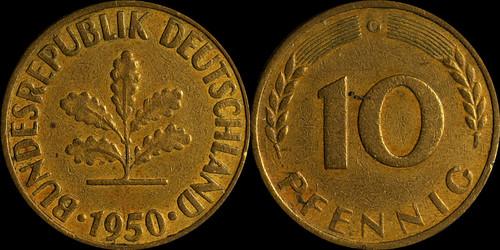 Стоимость 10 pfennig 1950 каталог конрос 41 редакция